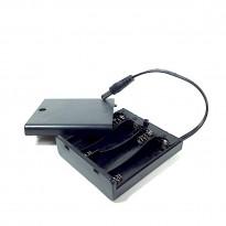 4AA / 4 AA / 4xAA Battery Holder + DC Plug + Switch + Cover