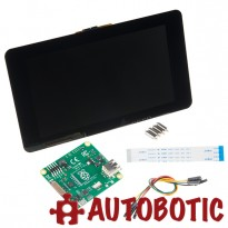 Raspberry Pi 3 + Official PSU + Official Casing + Original RPI 7 Inch Touchscreen + Acrylic Stand + 16GB uSD Preloaded NOOBs + HDMI Cable + Heat Sinks