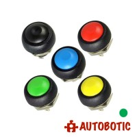 2-Pin Momentary Push On Button Switch - Hole 12mm (Green)