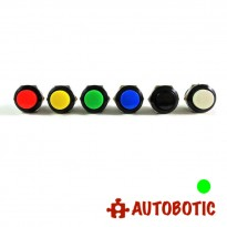 2-Pin Momentary Push On Button Switch - Hole 16mm (Green)