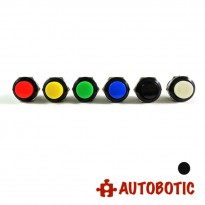 2-Pin Momentary Push On Button Switch - Hole 16mm (Black)
