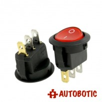 3-Pin KCD1-105 On/Off Rocker Switch SPST 6A/250V With 12V LED (Red)