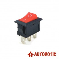 3-Pin KCD1-102 On/Off Rocker Switch SPDT 6A/250V (Red)