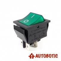 4-Pin SOKEN RK1-01 Premium On/Off Rocker Switch DPST 16A/250V With LED (Green)