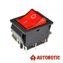 6-Pin KCD4-202N On/Off Rocker Switch DPDT 16A/250V With LED (Red)