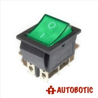 6-Pin KCD4-202N On/Off Rocker Switch DPDT 16A/250V With LED (Green)