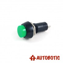 2-Pin Self Locking Button Switch SPST - Hole 12mm (Green)