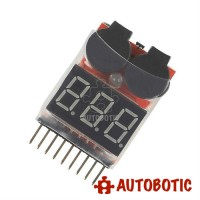 1-8S Lipo Battery Voltage Tester with Low Voltage Alarm