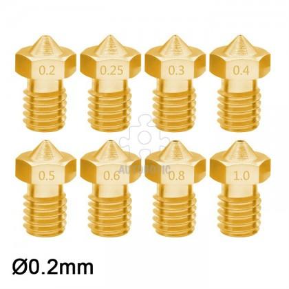 3D Printer 1.75mm Filament E3D V6 Brass Extruder Nozzle (0.2mm)