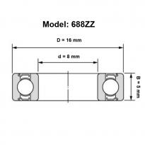 688zz Miniature Ball Bearing Double Metal Shielded (8x16x5mm)