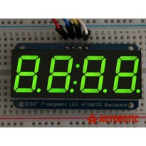 Adafruit 0.56 inch 4-Digit 7-Segment Display w/I2C Backpack - Green