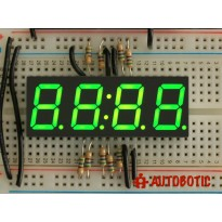 Green 7-segment clock display - 0.56 inch digit height
