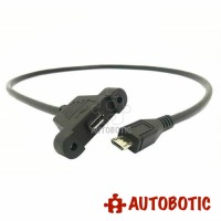 USB Extension Cable - Type Micro B Male to Type Micro B Female (Panel Mount)