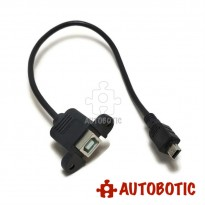 USB Extension Cable - Type Mini B Male to Type B Female (Panel Mount)