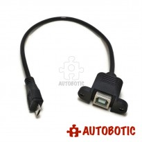 USB Extension Cable - Type Micro B Male to Type B Female (Panel Mount)