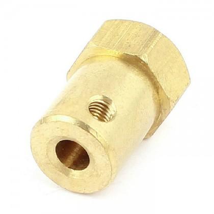 Hex Brass Mini Wheel Coupling (8mm)