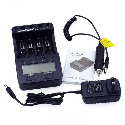 18650 Battery Charger with LCD Display & Power Adaptor (LiitoKala lii-500)