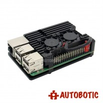 Black Aluminum Alloy Heatsink Casing for Raspberry Pi 3 B+/B (Dual Fan)