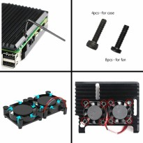 Black Aluminum Alloy Heatsink Casing for Raspberry Pi 4 (Dual Fan)