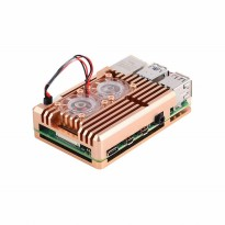 Golden Aluminum Alloy Heatsink Casing for Raspberry Pi 4 (Dual Fan)
