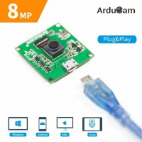 "Arducam 8MP 1080P USB Camera Module, 1/4"" CMOS IMX219 Mini UVC USB2.0 Webcam Board with 1.64ft/0.5m USB Cable for Windows, Linux, Android and Mac OS"