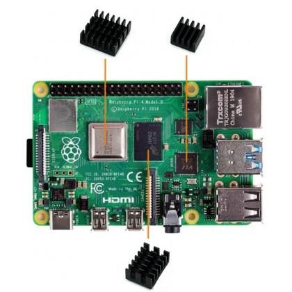 Raspberry Pi 4 Heatsink (Black 3pcs)