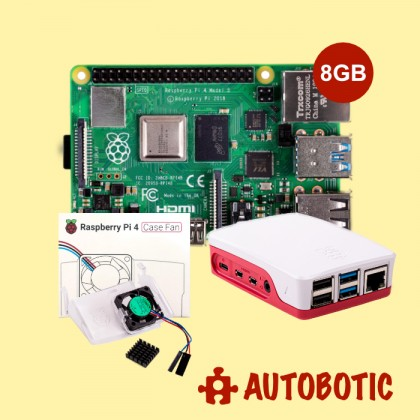 Combo Raspberry Pi 4 Model B (8GB) with Case Fan & Official Casing (Red)