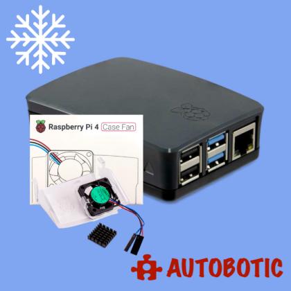 Raspberry Pi 4 Case Fan + Official Casing (Black)