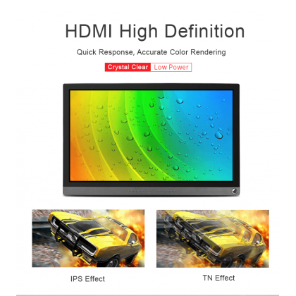 15.6 inch Universal Portable Touch Monitor, 1920×1080 Full HD, IPS, HDMI/Type-C (Built-in Battery)