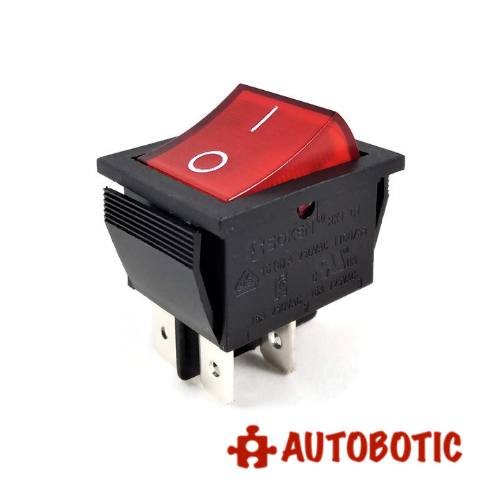 4-Pin SOKEN RK1-01 Premium On/Off Rocker Switch DPST 16A/250V With on